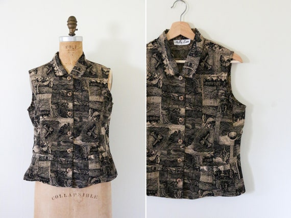 Vintage Brown and Black Collared Button Down Tank