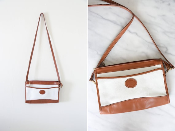 1990's Vintage White and Brown Leather Crossbody H