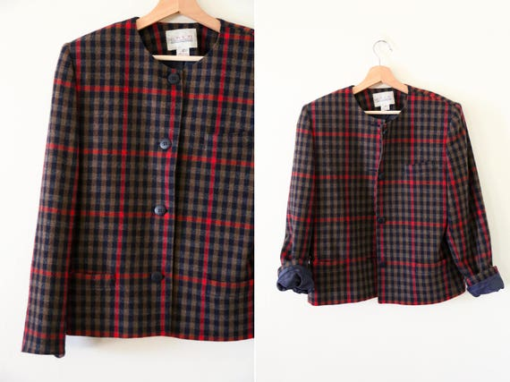 1980's Vintage Red and Black Plaid Blazer Jacket /
