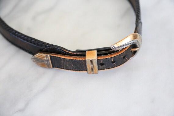 Vintage South Western Black Leather Belt // Round… - image 9