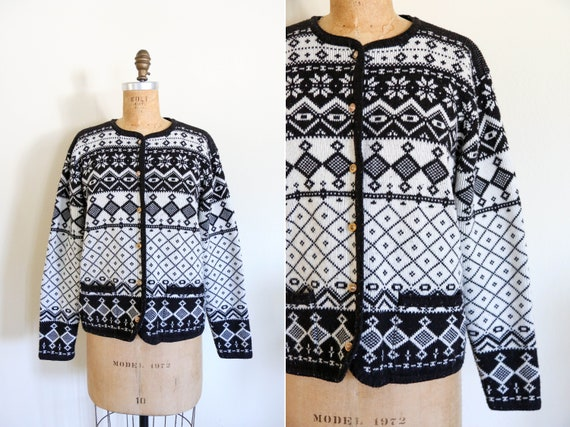 Vintage Black and White Fair Isle Long Sleeve Knit