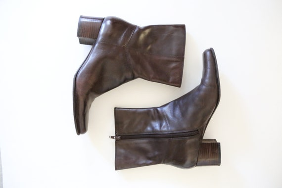 Vintage Brown Leather Ankle Boots // Square Toe Ch