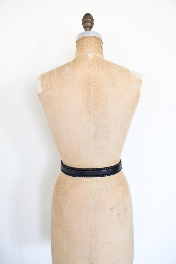Vintage South Western Black Leather Belt // Round… - image 8