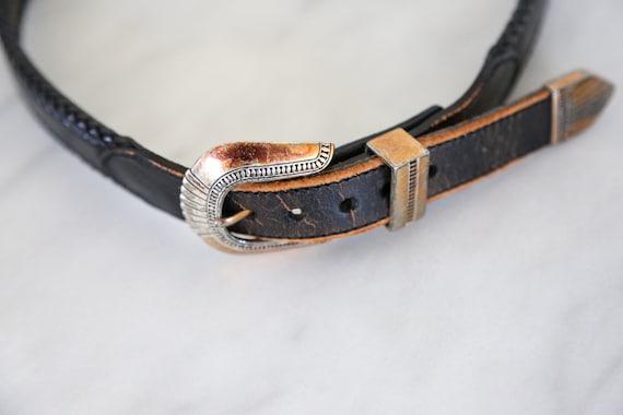 Vintage South Western Black Leather Belt // Round… - image 4