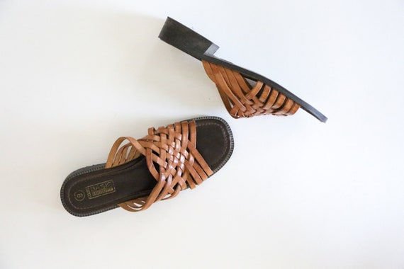 Vintage Woven Brown Leather Mules // Braided Leath