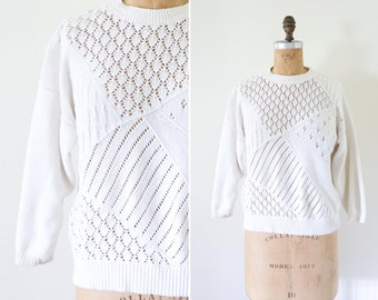 Vintage White Pullover Sweater // Eyelet Woven Pullover Knit