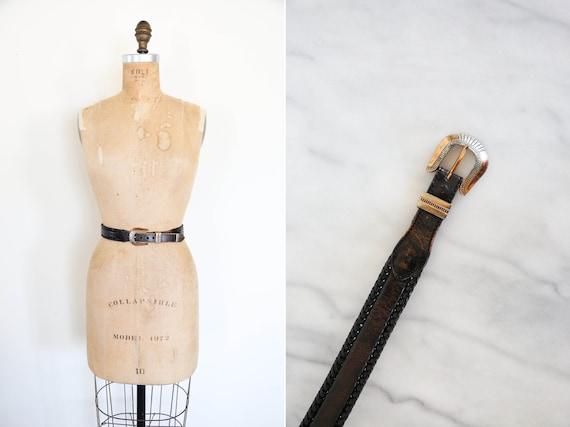 Vintage South Western Black Leather Belt // Round… - image 1
