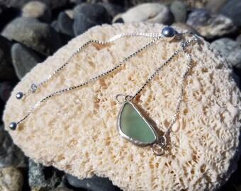 Sterling silver adjustable teal seaglass bracelet