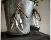 18ct yellow gold, sterling silver and oxidised silver dangly leaf earrings, inspired by nature drop earrings with textured leaves 55mm drop