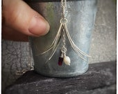 Sterling silver handmade leaf drop pendant with red garnet tube bead and white fresh water pearl 18 inch chain