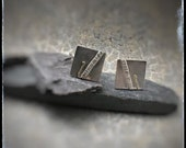 Silver & 18ct gold square handmade beach cufflinks