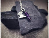 Sterling silver handmade butterfly cutout 'Zephyr' pendant with Amethyst beads