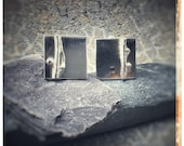 Silver square handmade cufflinks with seaweed detail