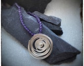 Silver swirl handmade pendant & purple amethyst one off beaded necklace