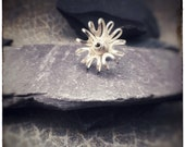 Sterling silver handmade oval petal flower pin