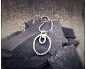 Sterling silver hammered double oval handmade pendant