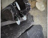 Moonstone and oxidised sterling silver handmade seed pod earrings, black and white gemstone dangly drop earrings