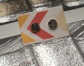 Textured sterling silver disc stud earrings