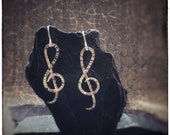 Treble clef handmade hammered sterling silver earrings