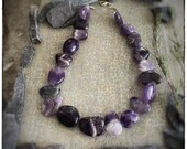 Chunky oversized Amethyst beaded necklace with sterling silver handmade contemporary clasp