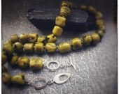 Green Bamboo Barrel beads beaded necklace with sterling silver handmade clasp