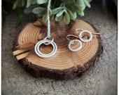 Sterling silver handmade hammered circle hoop interlock pendant and drop round earrings