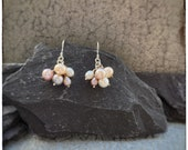 Pearl cluster dangly earrings, handmade pink, peach and white cultured fresh water pearls with sterling silver wires