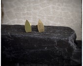 Seed oval shaped 18ct yellow handmade textured stud earrings