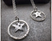 MUMMY'S STAR charity sterling silver star and hammered hoop personalised handmade initial pendant