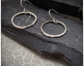 Sterling silver handmade hammered hoop drop and dangle earrings