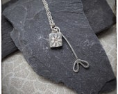 Sterling silver handmade pressed flower and leaf pendant