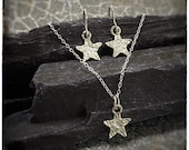 Super seconds sterling silver star earrings and pendant, hammered handmade jewellery set, stars approximately 18mm