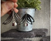 Oxidised blackened sterling silver leaf earrings with fresh water white pearls and red tube garnet beads, nature inspired dangly earrings