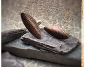 Grain copper brown and silver leaf cufflinks