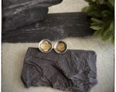 Super seconds round mismatched oxidised black sterling silver and brass circle domed stud earrings handmade 12mm