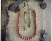 Smokey pink Rhondonite beaded necklace with handmade sterling silver clasps