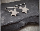 Sterling silver sparkly star handmade drop and dangle earrings