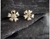 Silver flower studs, handmade sterling silver textured flower earrings with swirly centres