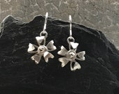 Sterling silver 5 petal flower drop earrings