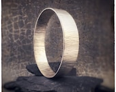 Handmade bangle, wide sterling silver textured bark bangle