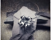 Handmade sterling silver oxidised (blackened) bloom flower pendant