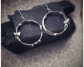 Handmade one off melted sterling silver circle butterfly drop 'Zephyr' earrings