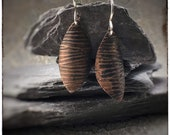 Copper textured leaf earrings with sterling silver hooks