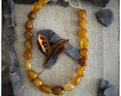 Large yellow Agate beaded necklace with handmade sterling silver clasp