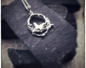Sterling silver melted circle butterfly'Zephyr' pendant handmade