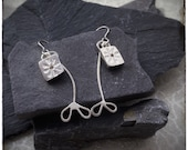 Sterling silver handmade dangly drop presses flower earrings with silver leaf stems
