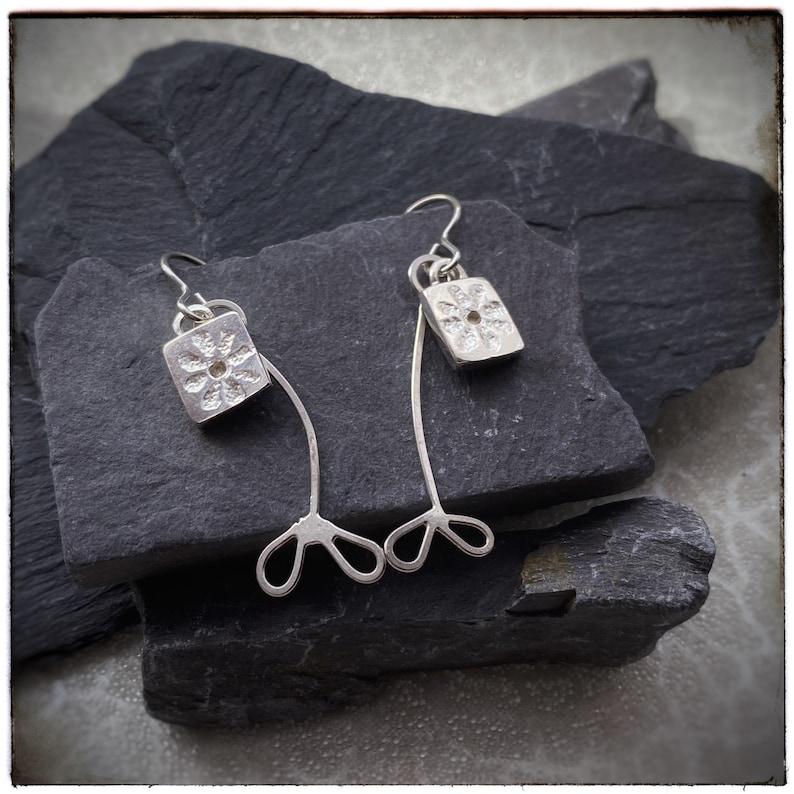 Sterling silver handmade dangly drop presses flower earrings image 0