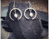 Hammered sterling silver crescent moon earrings with fresh water pearls