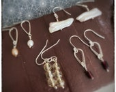 Super seconds mix of handmade pearl and semi precious stone dangly drop sterling silver earrings