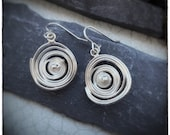 Swirl sterling silver melted spiral drop and dangly earrings